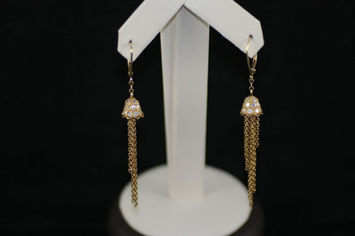 18K Yellow Gold Diamond Bell and Chains Earrings