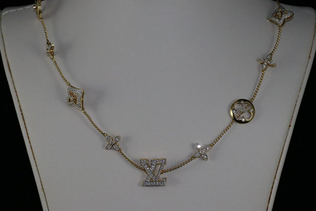 18K Yellow Gold Diamond LV Necklace
