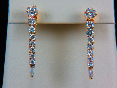 18K Yellow Gold Diamond Dangle Jacket Earrings