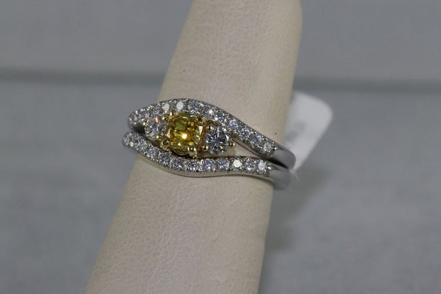 18K White Gold Fancy Deep Yellow Center Stone Ring
