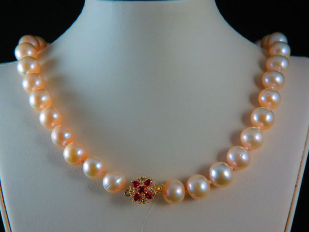 11MM Peach Pearl Necklace with Diamond and Ruby