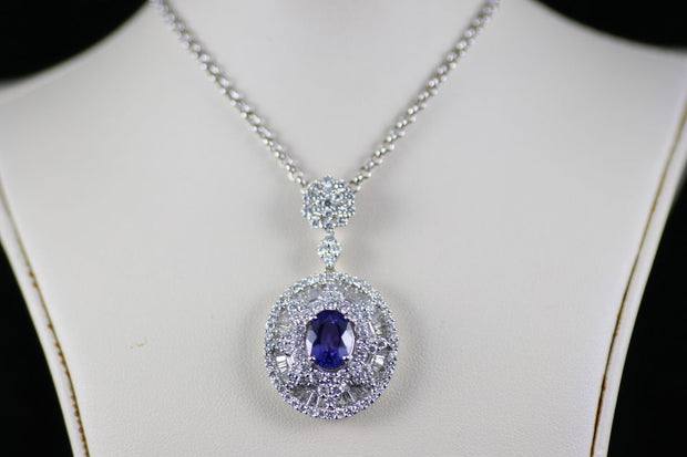18K White Gold Tanzanite and Diamond Pendant