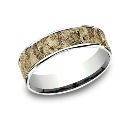 6.5mm White Gold Wall Fracture Sculpted Men's Wedding Ring