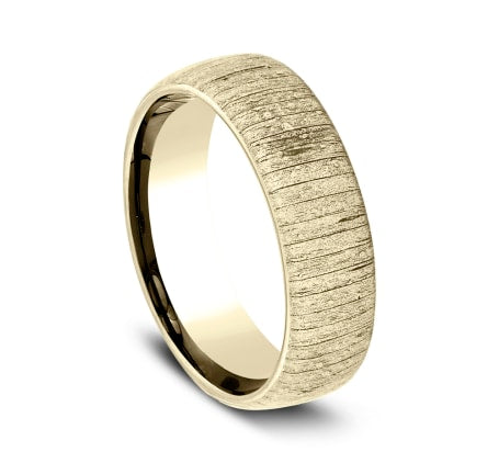 6mm Yellow Gold Wood Split Sculpted Men's Wedding Ring
