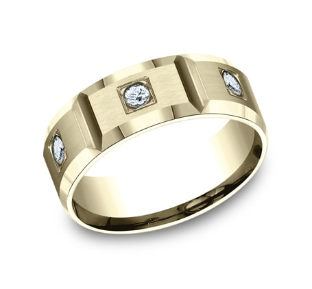 8mm Yellow Gold Bevel-Edged Men's Diamond Eternity Band