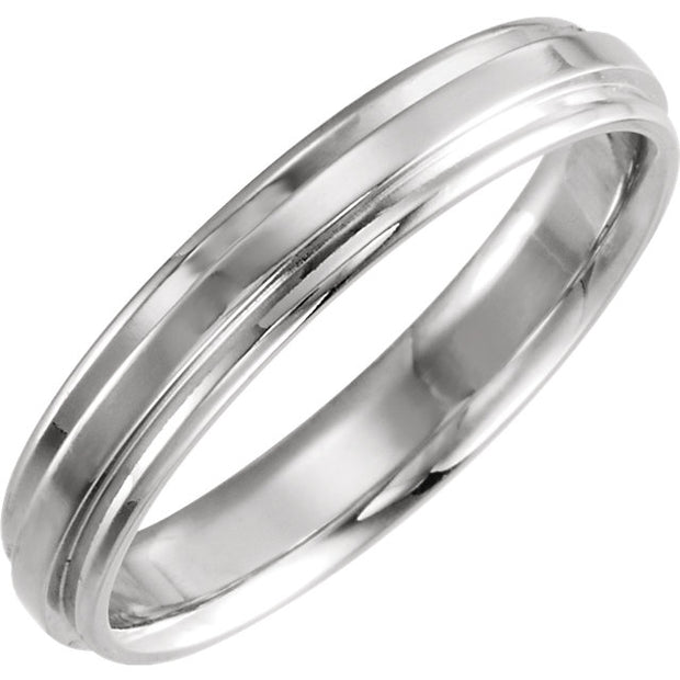 14K White Gold 4 mm Flat Edge Comfort-Fit