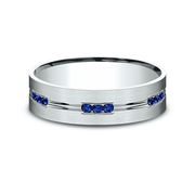 6mm White Gold Men's Wedding Ring with Sapphires