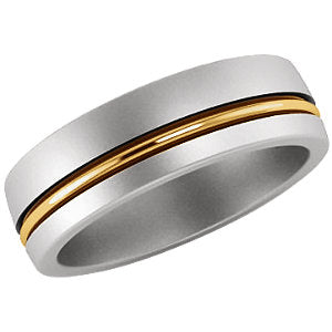 14K White & Yellow 6 mm Grooved Band