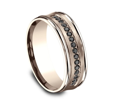7.5mm Rose Gold Men's Black Diamond Wedding Band