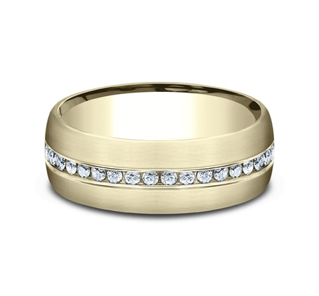 7.5mm Yellow Gold Comfort-Fit Men's Diamond Band