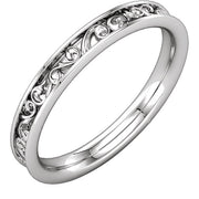 14K White 2.8 mm Sculptural-Inspired Band