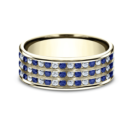 8mm Sapphire & Diamond Comfort-Fit Band