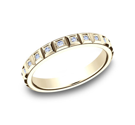 3mm Raised Squares Diamond Stackable Ring