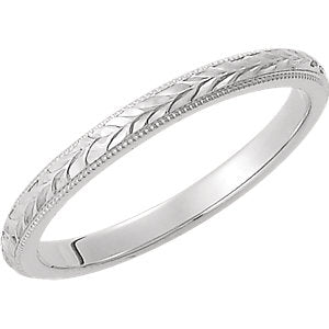 14K White 2 mm Design-Engraved Band