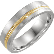 14K White & Yellow .07 CTW Diamond 6 mm Grooved Comfort-Fit
