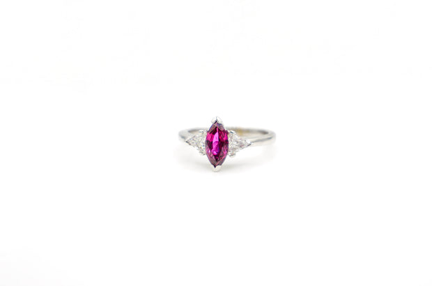 Custom White Gold Marquise Ruby Ring