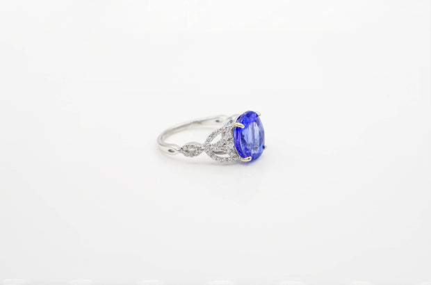 Custom Oval Tanzanite White Gold Ring