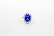 Custom White Gold Tanzanite Halo Ring