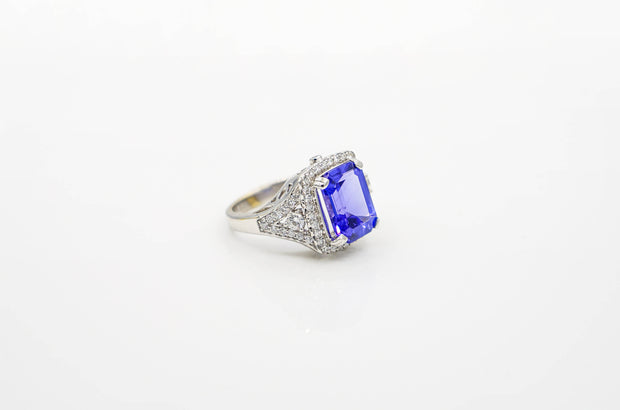 Custom Princess Cut Tanzanite Diamond & Gold Ring