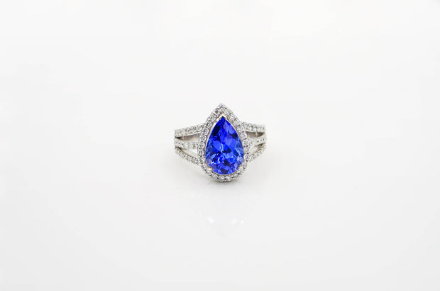 Pear-shaped Tanzanite Ring