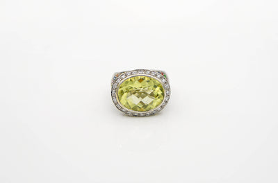 Faceted Green Amethyst & Colored Sapphire Ring