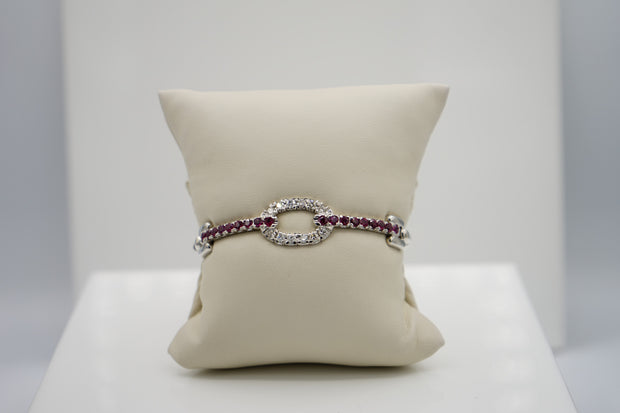 Ruby & Diamond White Gold Bangle