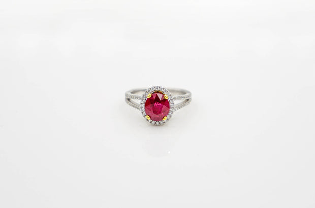 White & Yellow Gold Oval Ruby & Diamond Ring