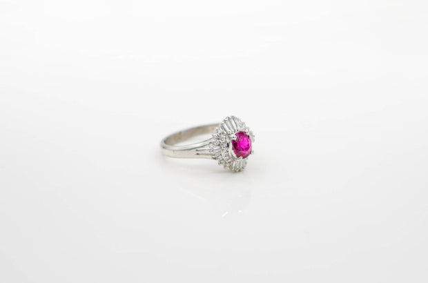 Platinum Ruby & Diamond Engagement Ring