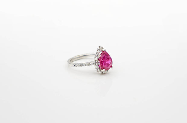 Pear Ruby White Gold Ring