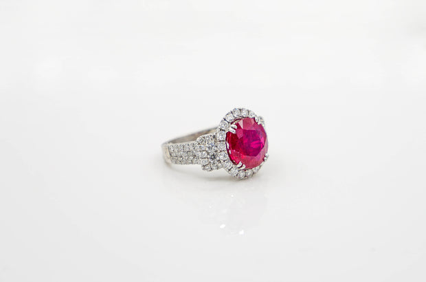 18K White Gold Oval Ruby & Diamond Ring