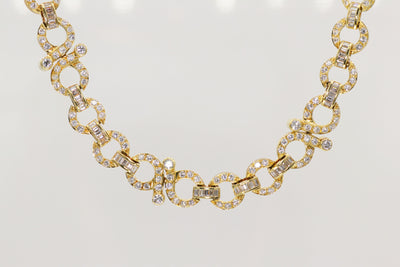 Custom Round Diamond Yellow Gold Fashion Necklace