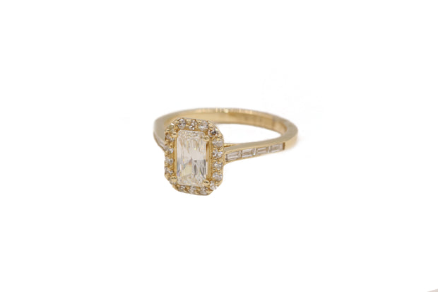 Yellow Gold Radiant GIA Certified Diamond Engagement Ring