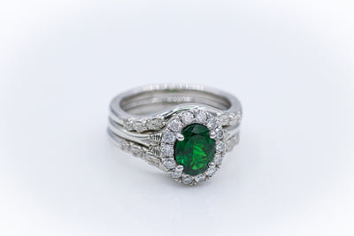 Custom Platinum Tsavorite Garnet Ring