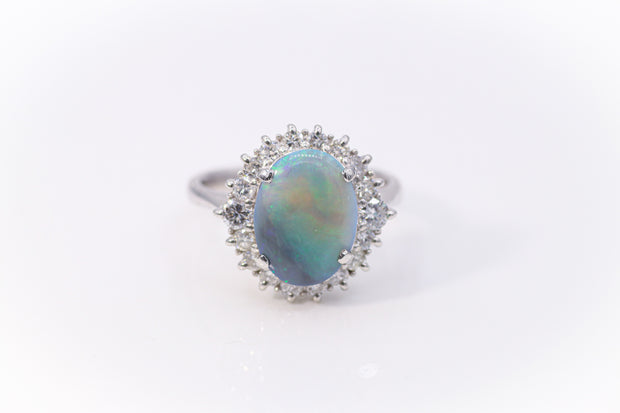 Platinum Australian Opal Custom Ring