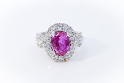 Custom Oval Pink Sapphire White Gold Ring