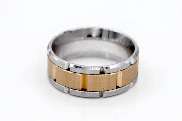 White & Rose Gold Men's Wedding Band