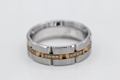 White & Rose Gold Men's Diamond Wedding Band