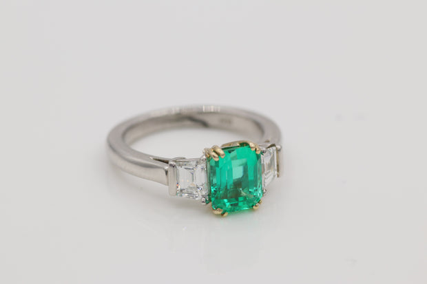 Platinum and 18K Yellow Gold Custom Emerald & Diamond Ring