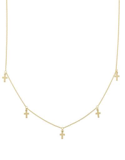 14K Gold Dangle Cross Adjustable Choker