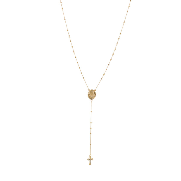 14K Gold Virgin Mary Cross Rosary Necklace