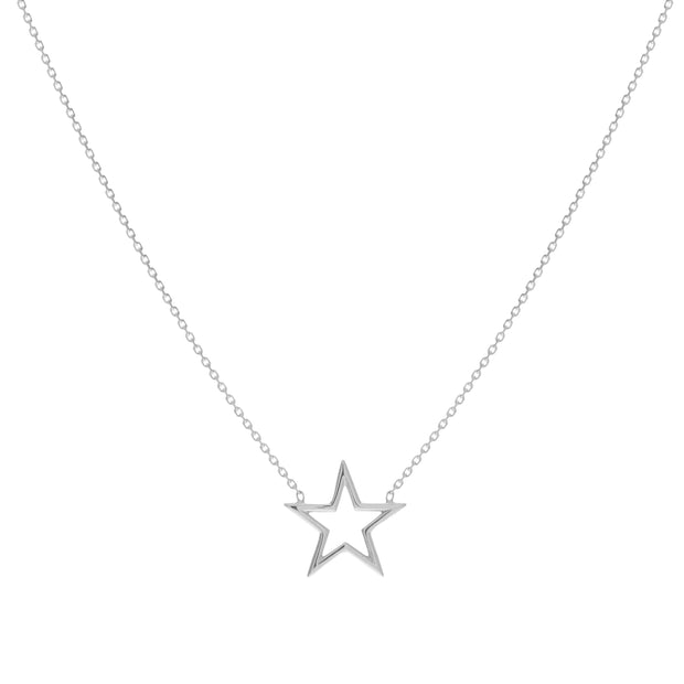 14K Gold Open-wire Star Adjacent Necklace