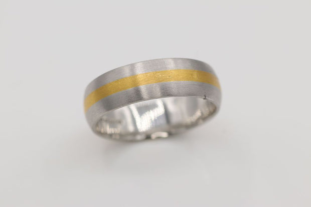 24K Yellow Gold/ Platinum Men's Band