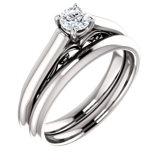 Platinum Round Solitaire Engagement Ring Mounting