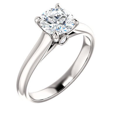 14K White Gold Round Engagement Ring Mounting