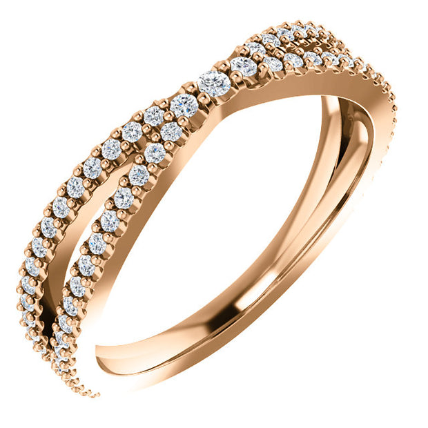 14K White Diamond Contour Band
