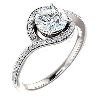 14K White Round Bypass Halo-Style Engagement Ring Mounting