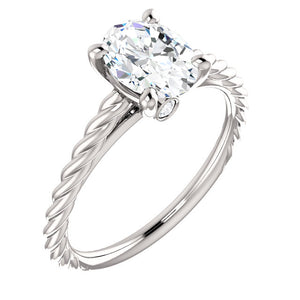 14K White Gold Oval Engagement Ring Mounting