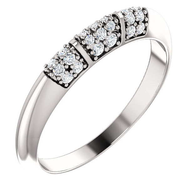 14K White Diamond Knife-Edge Matching Band