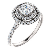 14K White Cushion Double Halo-Style Engagement Ring Mounting