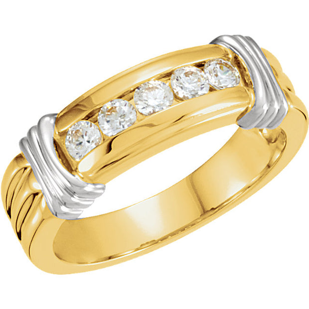 14K Yellow & White 3 mm Round Men's Five-Stone Band Mounting